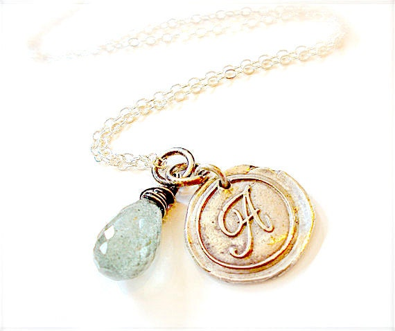 Handmade Personalized Silver Wax Seal Classic Initial Necklace . Bridesmaids . New Moms Cursive Script Stamped Initial. Jewellery