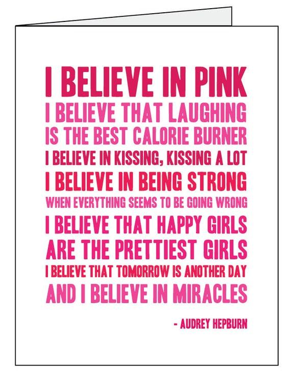 I Believe in Pink, Audrey Hepburn Quote - Set of 12 *SALE!*