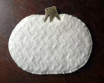 White Pumpkin Mug Rug or Candle Mat