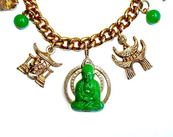 Zen Buddha Charm Tribal Green Bracelet Jade Glass Bead Jewelry VINTAGE