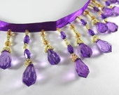 Purple, Brown and Gold Short Beaded Fringe Trim