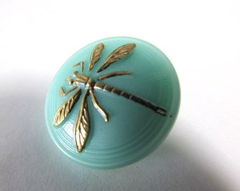Czech Glass Dragonfly 18mm Button in Mint Green Aqua with Gold Dragonfly