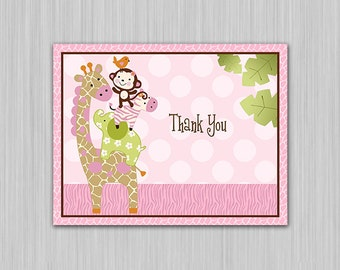 Jungle Jill/ Girl Animals Printable Baby Shower Thank You Note Card  U Print yourself