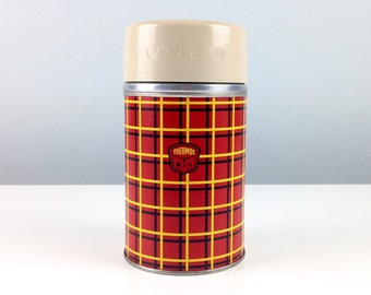 Thermos Tartan Plaid Insulater Vacuum Sealed Thermal Bottle, Vintage Picnic, Vintage Camping