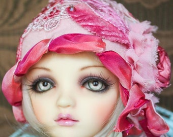 "Adorable ""Clara"" Pink Flapper Style Cloche Hat With French Ribbon For Ball Jointed Dolls"