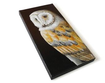 Barn Owl painting #1, realistic wildlife art original, 6x12