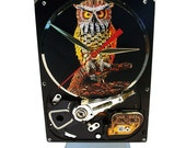 """Hard Drive Clock with Computer Parts """"Wise Owl"""" Dial. """"Computer Parts All Over the Place!"""""""