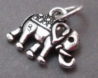 Sterling Silver Elephant Charm, Elephant Pendant, Bracelet Charm, Necklace Charm with Sterling Silver Jump Ring