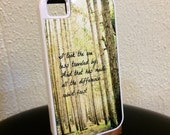 Poetry iphone 4s tough rubber case Robert Frost quote phone cover Took one less traveled made all difference Accessory Poem nature woodland