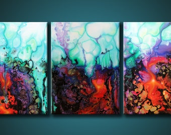 24x54 ORIGINAL Abstract Painting Modern Acrylic Purple, Teal, Red. Fine Art by Federico Farias