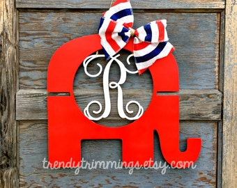 Republican Elephant Monogram- Holiday Trimmings™ Door Hanger Wreath, Wooden Monogram Letter- 4th of July, patriotic election decor-unpainted
