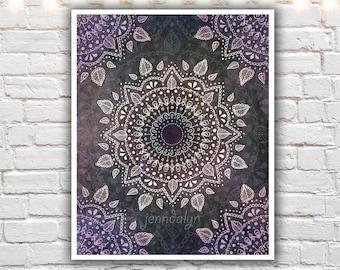 mandala wall art - bohemian art - hippie decor - mandala art prints - purple wall art - illustration print
