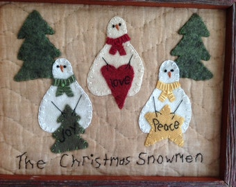 Christmas Snowman Embrodiery Applique Wool Barnwood Frame