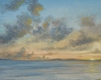 Original Tropical Caribbean Sunset Seascape oil painting (Island Sunset) on gallery wrap canvas - Free Shipping