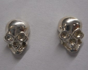 Sterling Silver or Gold Skull Studs