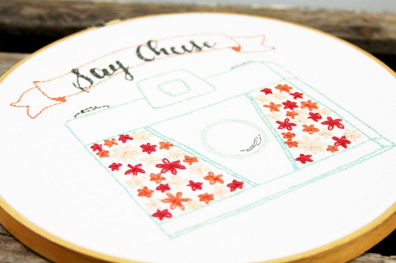 Say Cheese - Retro Floral Camera Embroidery Pattern