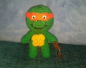 "crochet doll TMNT Michelangelo turtle 6"" sci-fi geek retro vegan amigurumi handmade gift"