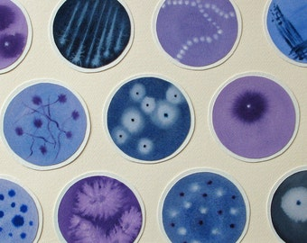 Petri Dishes in Purple and Blue - original watercolor collage