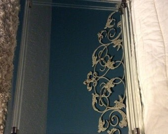 """20% OFF SALE Vintage Large 16"""" Dresser Mirror Vanity Tray Display Beveled Glass Footed with Lucite Bars"""