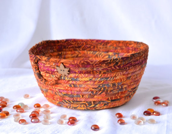 Autumn Party Bowl, Fall Kitchen Decoration, Handmade Earth Tone Basket, Halloween Gift Basket, Bread Basket, Decorative Bowl