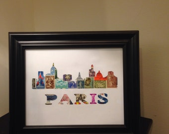 Paris - Used Postage Stamps - Framed Postage Stamp Art - Wall Art - Cityscape, France, French art