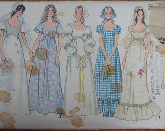 Vintage Wedding Dress Pattern 1970s Simplicity 9825 Size 12, vintage wedding, boho style