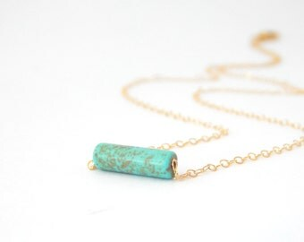 Dainty Turquoise Tube Layering Necklace - Turquoise Tube Bead, 14k Gold Filled or Sterling Silver Chain, Minimalist Jewelry, Gifts For Her