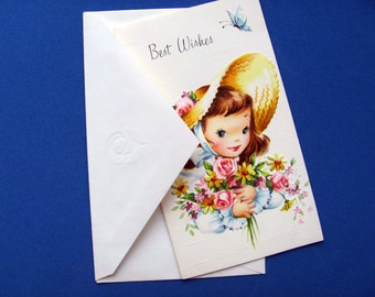 Vintage Birthday Card For Femine Friend Clean Unused With White Envelope Small Sunshine Card Floral Pink Blue