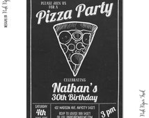 Pizza Party Chalkboard Invitation - Printable Birthday Invitation - Print Your Own