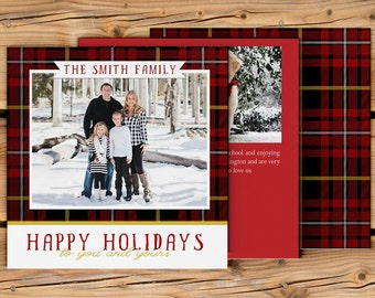 "Holiday Card ""Plaid Merriment"" 5x5 (digital or printed)"