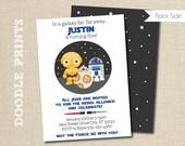 "Star Wars Birthday Invitation, Droids BB8 R2D2 C3PO Inspired Invitation, Customized Printable Invitation Party, Galaxy - size 5x7 or 4x6"""