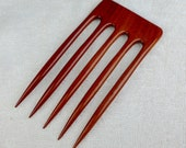 Reserved for Manuela 5 Prong Hair Fork Made from Bloodwood