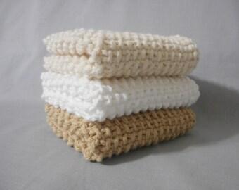 Handmade Knitted Dish Cloth, Set of Three,  Knitted Washcloth, Spa Washcloth, Knitted Dishcloth, 100% Cotton, Eco-Friendly, Tan Beige White