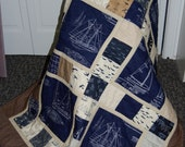 Nautical Ships Blueprint Quilt, Throw Quilt, Hand Quilted, More Hearty Good Wishes