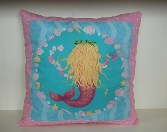 SALE, Mermaid Pillow, Girls Bedding, Beach Decor