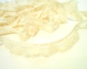 "Vintage Lace Trim, 10 yards Ecru Gathered Lace Trim, 3/4"" Trim, Sewing Notions"