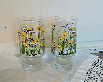 Vintage Hildi Drinking Glasses | Yellow Daisy