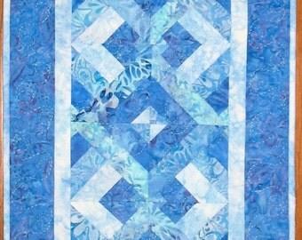 Batik Table Runner, blue shades, pieced, patchwork