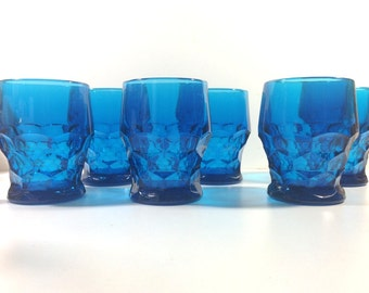 Vintage Blue Glass Tumblers by Viking in the Georgian Pattern