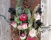 Dried Flower Bouquet Floral Arrangement on Antique Wood Rustic Coil with Strawflowers Roses Twig Balls Grass Free Lavender Sachet with Order