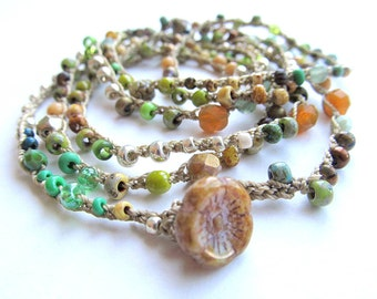 "Beaded crochet wrap bracelet / necklace, ""new leaf"", bohemian jewelry, green, beach inspired, crochet jewelry, fall fashion, bead crochet"
