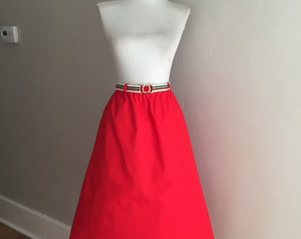 VINTAGE 60s 70s Lipstick Red Cotton Blend A Line Retro Skirt w Rainbow Belt