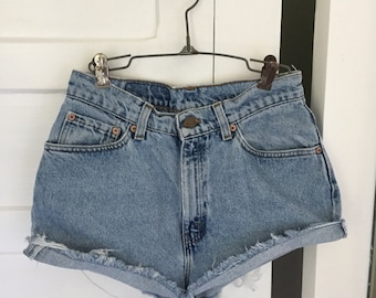 Vintage 80s 90s Revival Grunge Light Blue LEVIS 512 Denim Jean Cut Off Festival Shorts 26
