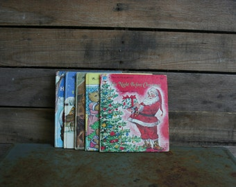 SUPER SALE  - Set of Five Vintage Tell-A-Tale Christmas Books - Christmas Book - Children's Books