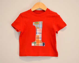 Ready to Ship Boys 1st Birthday Shirt, Red Plaid, Applique Number 1, Red Tshirt Short Sleeve, Size 18m, Blue Orange Red Green