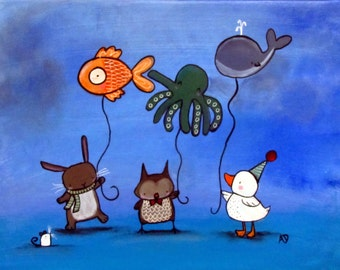 Original Nursery Art Whimsical Animals with Balloons Rabbit Owl Duck Mouse Acrylic Painting for Children Baby Storybook Playroom Artwork