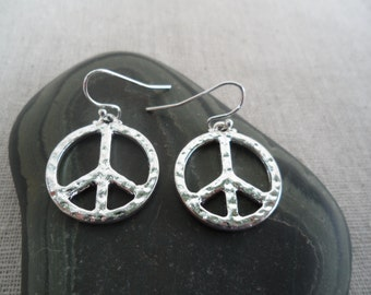Silver Peace Earrings - Peace Jewelry - Simple Everyday Silver Earrings