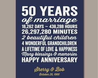50th Anniversary Gift, 50th Wedding Anniversary Gift,  50 Year Anniversary, 50th Anniversary Gift For Parents, Golden Anniversary 11x14