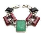 Art Deco Bracelet with Intaglio Glass and Carnelian Links Vintage 1930's Jewelry