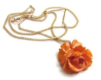 Carved Bakelite Rose Pendant on 12k Gold Filled Chain VINTAGE 1920s-30s